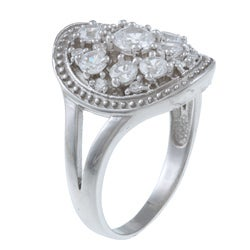 La Preciosa Sterling Silver Round Cubic Zirconia Engagement-style Ring