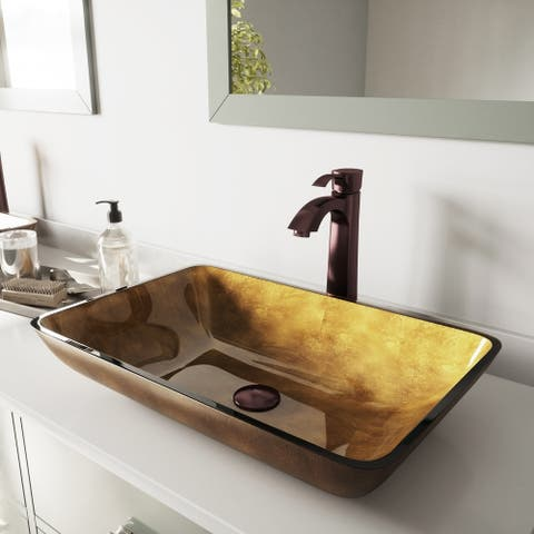VIGO Copper Glass Vessel Bathroom Sink Set with Otis Faucet