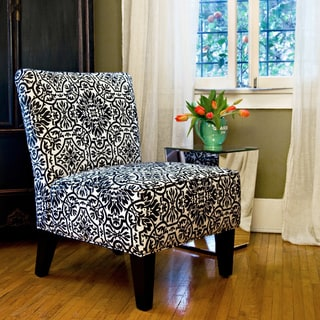 Handy Living Davis Modern Damask Black and White Armless Chair