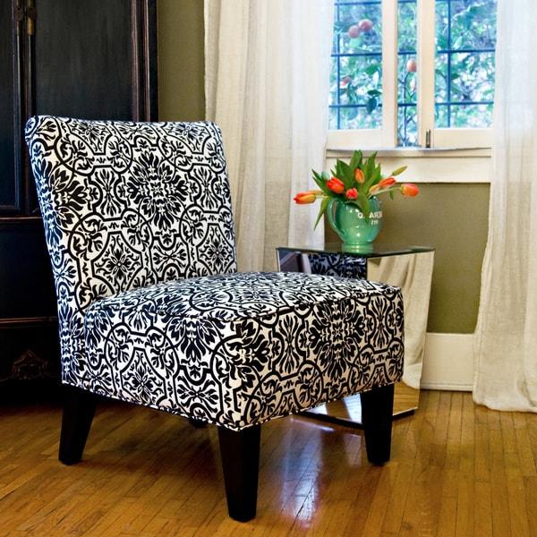 angelo:HOME Davis Modern Damask Black and White Armless Chair