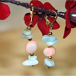 Goldplated 'St. Pete's Beach' Mother of Pearl and Aquamarine Earrings