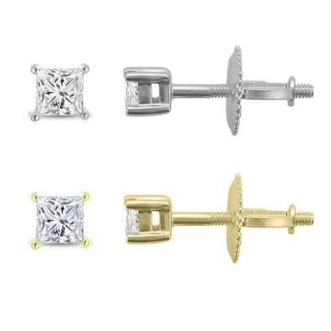 Montebello 14KT Gold 1/4ct TDW Certified Diamond Stud Earrings