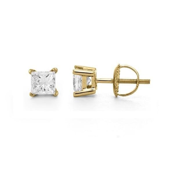 Montebello 14k Gold 1/2ct TDW Certified Princess-cut Diamond Stud Earrings (I, VS2)