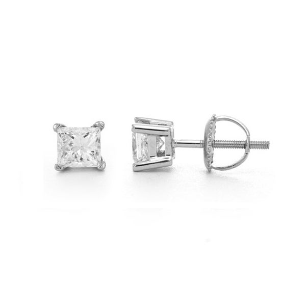 white ct gold diamond princess stud cut in earrings tw