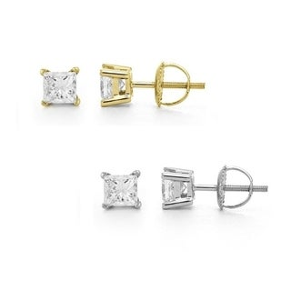 Montebello 14k Gold 1/2ct TDW Certified Princess-cut Diamond Stud Earrings (I, VS2)