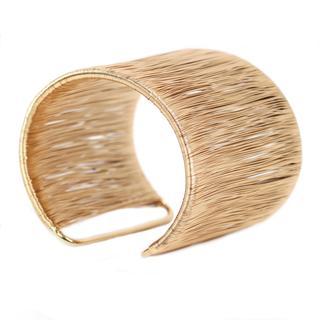 Nexte Goldtone Filament Wire Cuff Bracelet