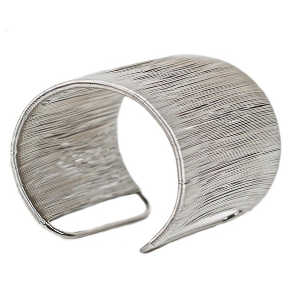 Nexte Silvertone Filament Wire Cuff Bracelet