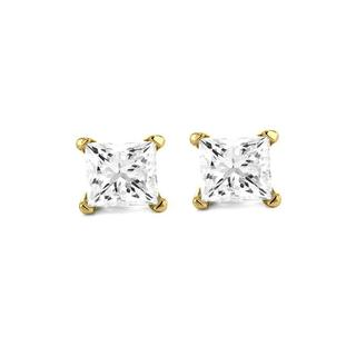 Montebello 14k Yellow Gold 1/2ct TDW Certified Diamond Earrings (F-G, SI1)