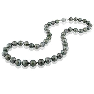 DaVonna 14k Gold Black Cultured Tahitian Pearl 18-inch Necklace (9-10 mm)