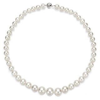 DaVonna 14k Gold White High Luster South Sea Pearl Necklace (10-13 mm)