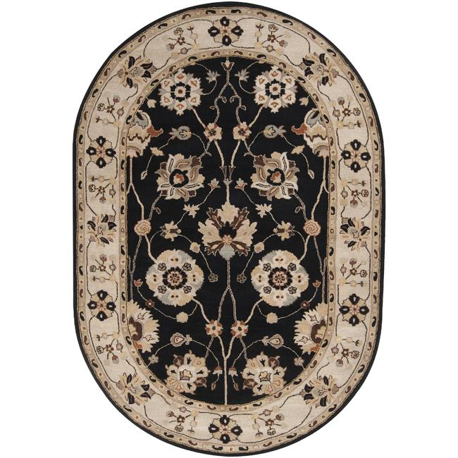 Hand-tufted Coliseum Black Wool Rug (6' x 9')