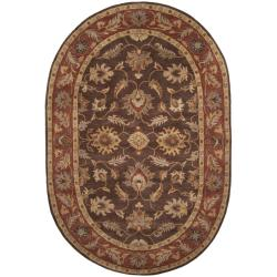 Hand-tufted Coliseum Brown Floral Border Wool Rug (8' x 10')