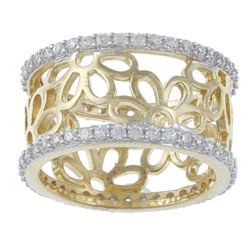 La Preciosa Goldplated Cubic Zirconia Flower Ring