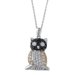 La Preciosa Sterling Silver Black and White Cubic Zirconia Owl Necklace