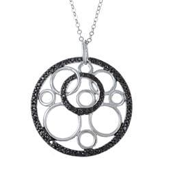 La Preciosa Sterling Silver Black Cubic Zirconia Circle Necklace