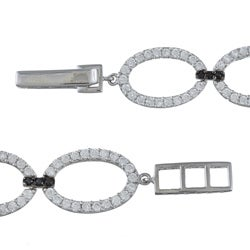 La Preciosa Sterling Silver Black and White Cubic Zirconia Link Bracelet