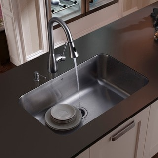 VIGO All-in-One 30-inch Stainless Steel Undermount Kitchen Sink and Aylesbury Stainless Steel Faucet Set