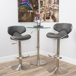 Ecco Brushed Stainless Steel Adjustable Height Swivel Bar Stool