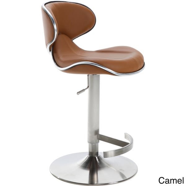 Ecco Brushed Stainless Steel Adjustable Height Swivel Bar Stool   Free  Shipping Today   Overstock.com   13443543