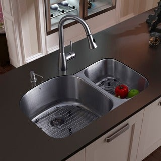 vigo all in one 31 braddock stainless steel double bowl undermount kitchen sink set sink  u0026 faucet sets for less   overstock com  rh   overstock com