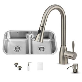 Vigo Undermount 18-Gauge Stainless-Steel Kitchen Sink, Faucet and Dispenser