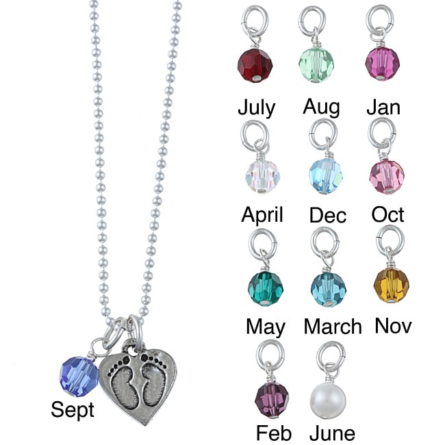 Lola's Jewelry Pewter Birthstone Baby Footprint Necklace ...