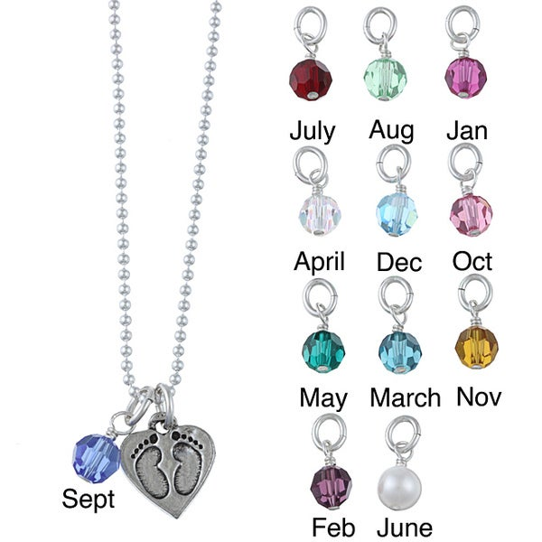 Lola's Jewelry Pewter Birthstone Baby Footprint Necklace