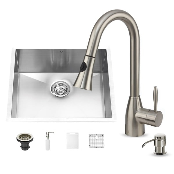 VIGO All-in-One 23-inch Stainless Steel Undermount Kitchen Sink and Aylesbury Stainless Steel Faucet Set