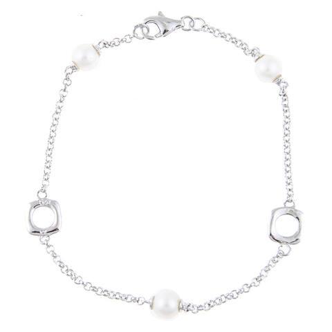 La Preciosa Sterling Silver Freshwater Pearl Link Bracelet