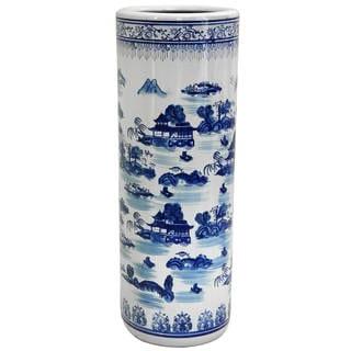 "Handmade 24"" Porcelain Blue and White Landscape Umbrella Stand"