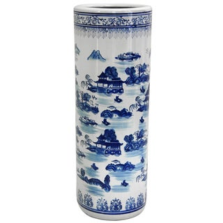 Handmade Porcelain 24-inch Blue and White Landscape Umbrella Stand (China)