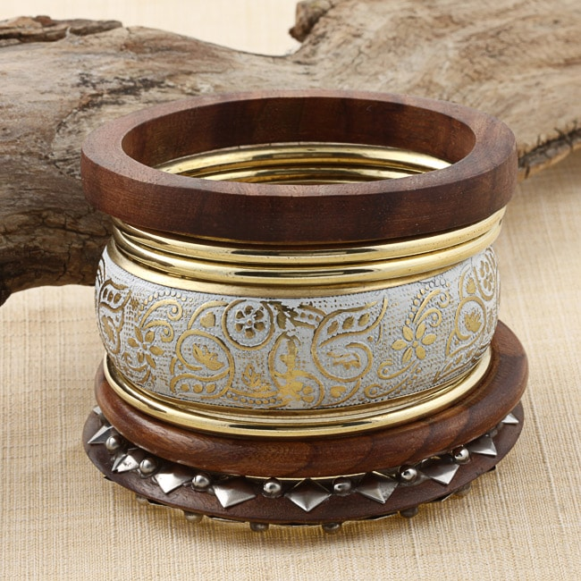 Set of 7 Brass and Wood Viva Bangles (India)