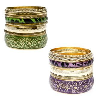Set of 7 Brass Tropic Bloom Bangles (India)