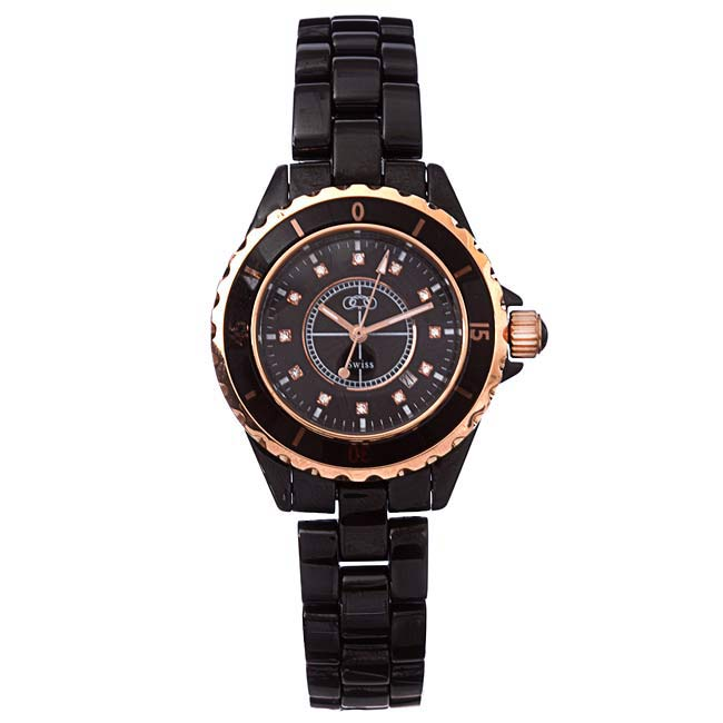Ceramic Couture Women's Black Rose Gold Ceramic Bracelet Watch