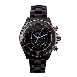 Ceramic Couture Men's Black Chronograph Ceramic Bracelet Watch