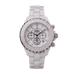 Ceramic Couture Men's White Chronograph Swiss Quartz Ceramic Bracelet Watch