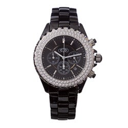 Couture Men's Black Chronograph Scratch-Resistant Ceramic-Case Bracelet Watch