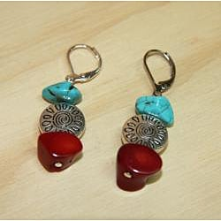 Silverplated 'Deep Sea Dive' Turquoise and Red Coral Earrings - Thumbnail 1