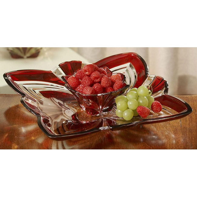 Fifth Avenue Aurora Crystal Square Chip and Dip Platter