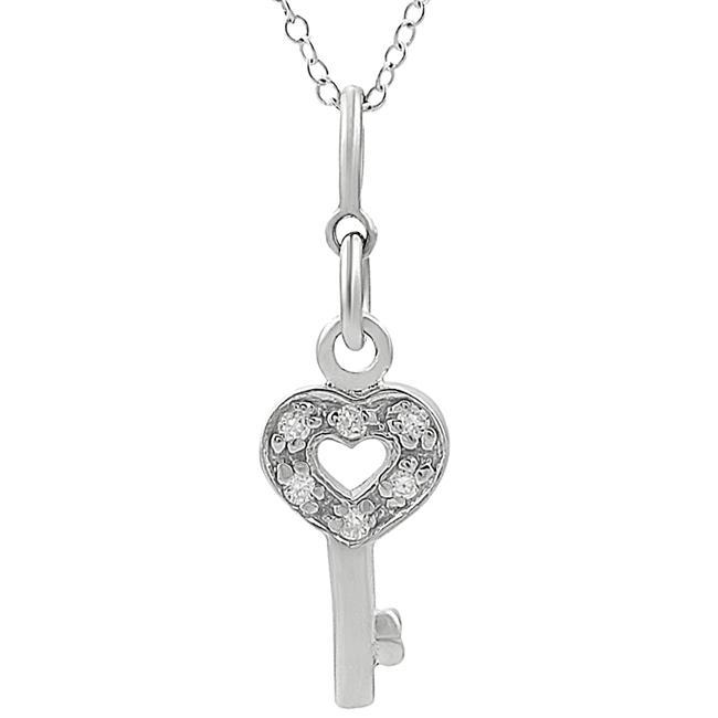 Journee Sterling Silver CZ Heart Key Necklace
