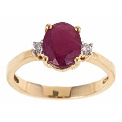 D'Yach 10k Yellow Gold Ruby and 1/10ct TDW Diamond Ring (G-H, I1-I2)