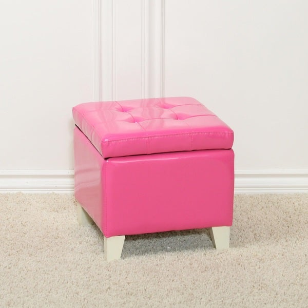 Shop Tufted Pink Patent Leather Storage Ottoman Free