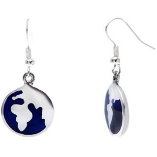 Handmade Alpaca Silver Blue Inlaid Earth Earrings (Mexico)