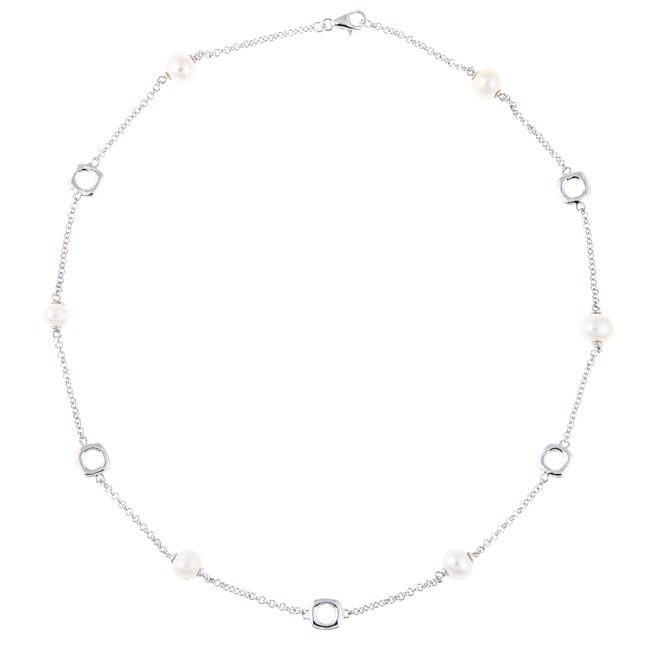 La Preciosa Sterling Silver Freshwater Pearl Link Necklace - Thumbnail 0
