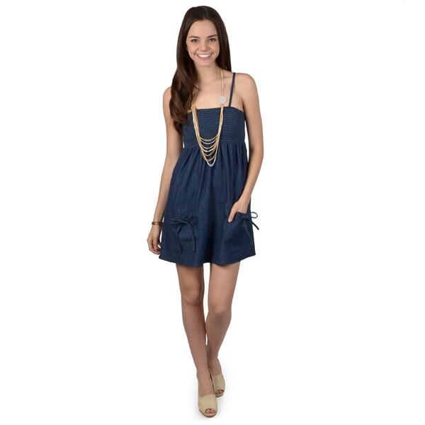 Ci Sono by Journee Juniors Two Pocket Spaghetti Strap Denim Dress