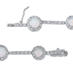 La Preciosa Sterling Silver Created Opal and Cubic Zirconia Link Bracelet - Thumbnail 1
