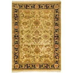 Indo Hand-knotted Jaipur Treasures Beige/ Black Wool Heirloom Rug (8' x 11')