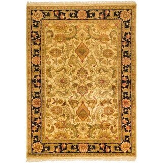 Indo Hand-knotted Jaipur Treasures Beige/ Black Wool Heirloom Rug (8' x 11')