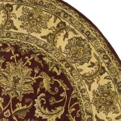 Indo Hand-knotted Jaipur Treasures Red/ Beige Wool Heirloom Rug (8' Round) - Thumbnail 1