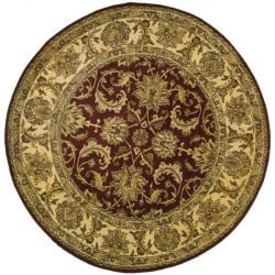 Indo Hand-knotted Jaipur Treasures Red/ Beige Wool Heirloom Rug (8' Round) - Thumbnail 2